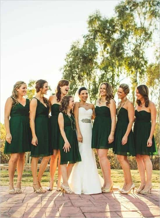 emerald green bridesmaids dresses